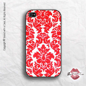 Red Damask pattern - iPhone 4 Case, iPhone 4s Case and iPhone 5 case