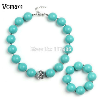 Vcmart Newest Pastel Mint Green Beaded Chunky Necklace Set Kids Girls Chunky Bubblegum Necklace Bracelet Set For Toddler Jewelry