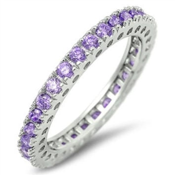 925 Sterling Silver CZ Eternity Simulated Amethyst Ring 3MM