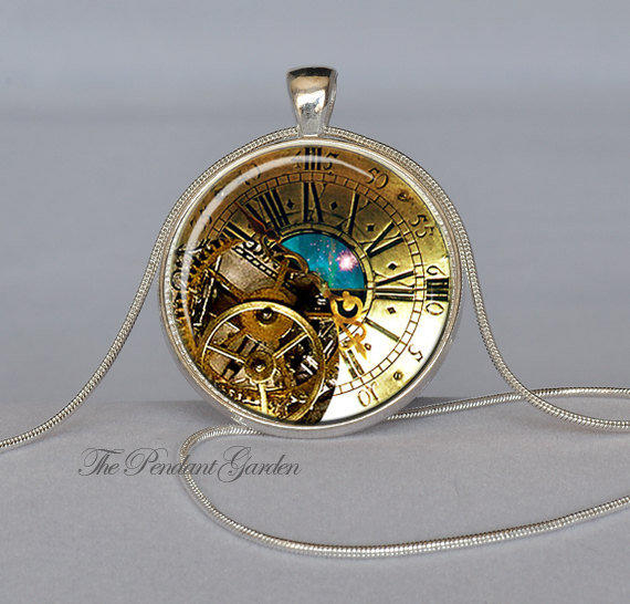 Steampunk Pendant Brass And Teal Colors From