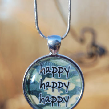 Duck Dynasty HAPPY HAPPY HAPPY Glass Tile Pendant