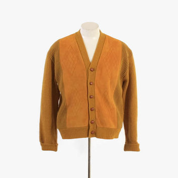 Vintage 60s MEN'S CARDIGAN / 1960s Gold Suede Panel Front Wool Blend Sweater M - L