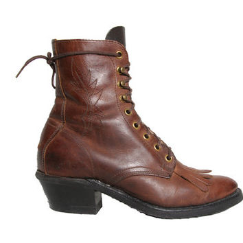 Black and Maroon Laredo Boots - Rope Boots - Lace Up Ankle Boots - Size 7.5 - Kiltie Boots - Roper Boots - Fringe Boots - Laredo - Western