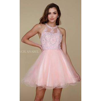 Short Blush Homecoming Dress Poofy A Line Tulle Skirt Halter Neck