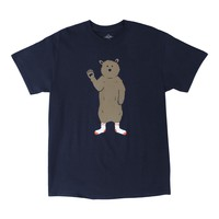 AWKWARD BEAR IN SOCKS, navy graphic tee by Altru Apparel