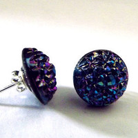 Boho stud earrings, blue and purple gypsy earrings, sugar stone studs, aurora borealis