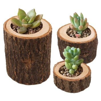 Wooden Candlestick Candle Holder Table Decoration Wooden Succulent Plants Flowerpot Bark Handicraft Handmade Table Ornaments