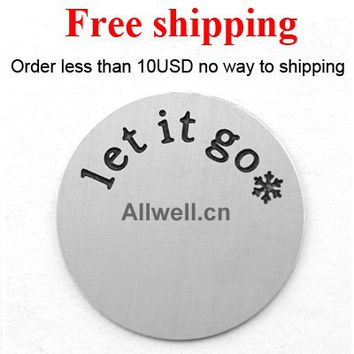Free shipping Stainless Steel floating plates LARGE SILVER let it go snowflake of Frozen theme song for LIVING locket 30mm