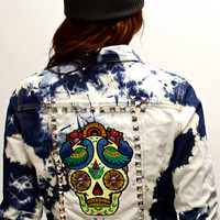 Acid Wash Studded Skull Levi Denim Shirt