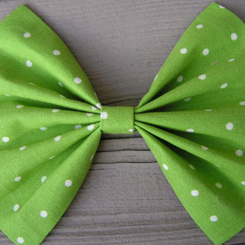 Apple Green and Ivory polka dots fabric Hair Bow large, Polka Dots hair bow, Large Hair Bow for teens and women, Kids hair bows