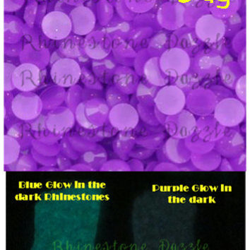 Purple Glow In The Dark Rhinestones, 4mm, ss16 Non Hotfix Glow in the Dark Rhinestones