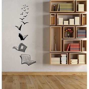 Vinyl Wall Decal Home Library Opened Books Reading Room Stickers (3521ig)
