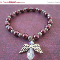 ON SALE Tween Glass Angel Bracelet with Purple Glass Pearl and Silver-Plated Accents