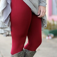 Solid Fleece Lined Leggings {Burgundy}