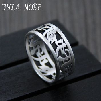 FYLA MODE  Handmade 925 Silver Thai Silver Six Words Ring Real 999 Silver OM Mani Padme Hum Ring 9mm 5.60g  XJF029