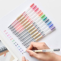 12 pcs/lot Creative 12 Colors Gel Pen 0.5mm Colour Ink Pens Marker Writing Stationery MUJI Style School Office Supplies Gift