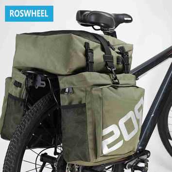 Bike Bags ROSWHEEL 37L MTB Mountain Bike Rack Bag 3 in 1 Multifunction Road Bicycle Pannier Rear Seat Trunk Bag