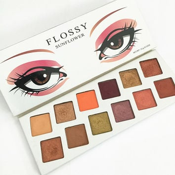12 Colors Floosy Glitter Shimmer Eyeshadow Pallete Maquiagem Makeup Palette Cosmetics Matte Eye Shadow Royal Peach Nude Pallete