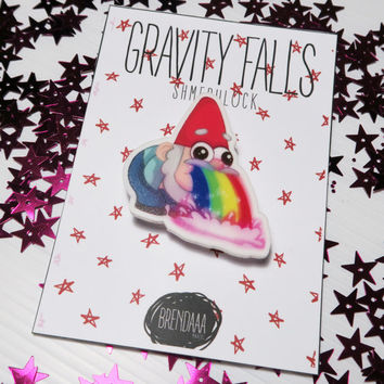 Shmebulock (Gnomes Puking Rainbow) From Gravity Falls Acrylic Pins / brooch