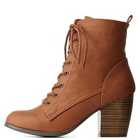 Chunky Heel Lace-Up Booties