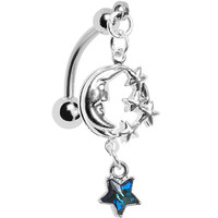 Handcrafted Top Mount Moon Belly Ring MADE WITH SWAROVSKI ELEMENTS | Body Candy Body Jewelry