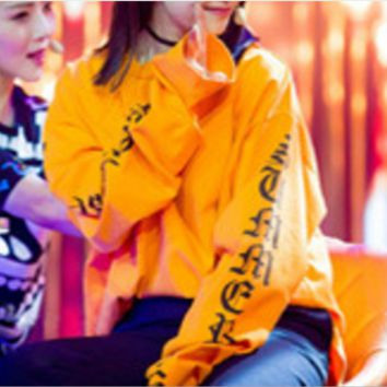 Harajuku bf wind long sleeve thin paragraph wild letter girl honey lovers loose large size sets of head sweater women Orange