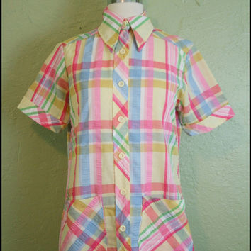Vintage '60s Pastel Easter Egg Shirt// Button by StoriesForBoys