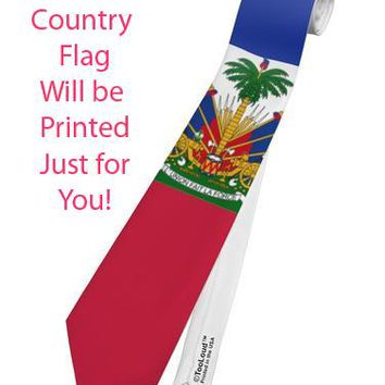 Country Flag Necktie AOP Printed All Over Print Tie