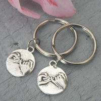 Set 2 Pinky Promise and Infinity Symbol KeyChain Best Friends Couples Love Friendship Hands Charm Pinkie Swear Key Chain Ring
