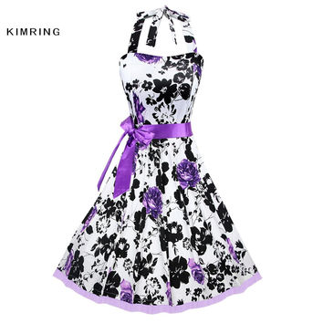 KIMRING SEXY VINTAGE DRESS AUDREY HEPBURN WOMEN CLASSICAL CASUAL PARTY ROCKABILLY ROSE FLORAL ROBE RETRO SWING COCKTAILS DRESS