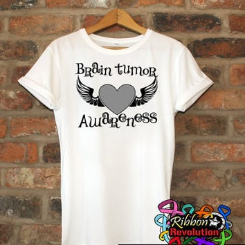 Brain Tumor Awareness Heart Tattoo Wing Shirts