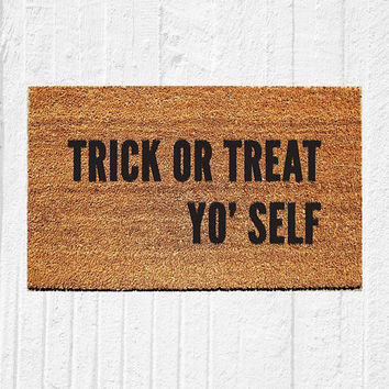 "Trick or Treat Yo Self Doormat | Welcome Mat | Halloween Door Mat | Halloween Decor | Funny Doormat | Fall Decor | Outdoor Rug | 18""x30"" Rug"