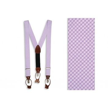 Seersucker Gingham Suspenders/ Braces in Lavender by High Cotton
