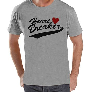 Men's Valentine Shirt - Funny Men's Heart Breaker Valentines Day Shirt - Valentines Gift for Him - Happy Valentine's Day - Grey T-shirt