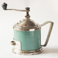 Vintage coffee grinder mechanical teal mill blue green brown rust Soviet grinder metal kitchen décor only