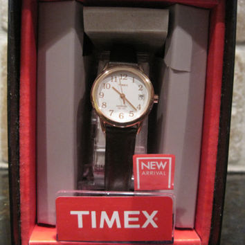 eTimex~T2P564~Rose Gold~Brown Leather~Easy Reader~Indiglo~Womens Classic Watch