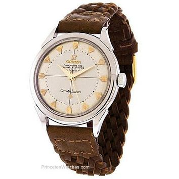 Vintage Pre-Owned Omega Mens Constellation - Circa 1960s - Leather Weave Strap