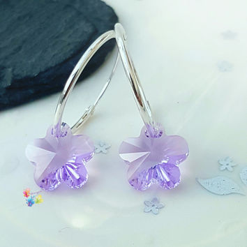 Violet Crystal Flower Earrings, Sterling Silver Earrings, Crystal Jewellery, Gift for Her, Flower, Crystal Earrings, purple, girlfriend
