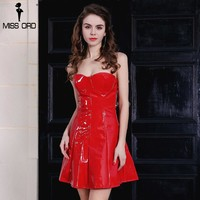 Sexy latex off the shoulder mini dress party dress