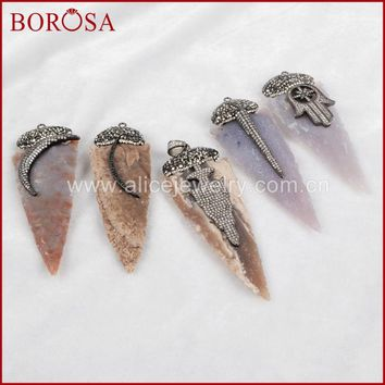 BOROSA 3pcs Fashion Gems Charm for Necklace Arrowhead Natural Stone Charm Rhinestone Pave Druzy Jewelry for Necklace JAB581