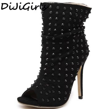 Punk Rock Hedgehog Gladiator shoes Rivets Summer Ankle  Boots Womens Peep Open Toe High Top Sandals High Heel Pumps Clubwear