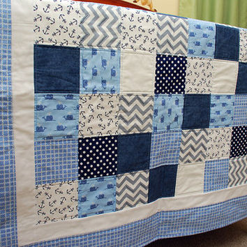Whale Baby Quilt - Nautical Theme Nursery Toddler Quilt