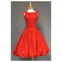 1950s Vintage Red Sleeveless Taffeta Wedding Dress - Star Bridal Apparel