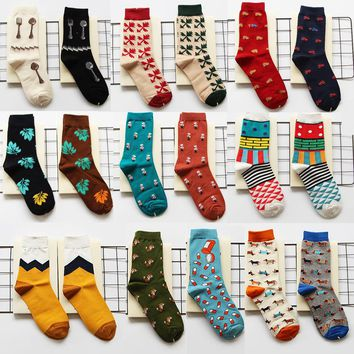 Harajuku Street Tide Casual Men Cotton Cartoon Socks Happy Socks For Couple Friend Dog Watermelon Guard Mens Weed Leaf Socks
