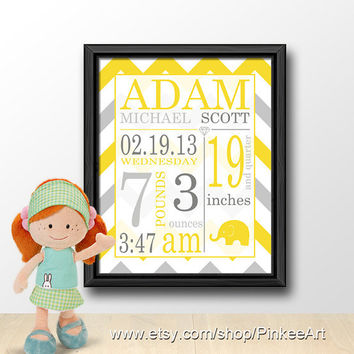 baby announcement wall art yellow grey chevron, newborn birth announcement, baby birth stats, baby shower gift, custom baby birth details