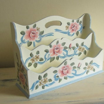 Cottage Chic Roses and Ribbons Wood Letter Organizer Mail Holder