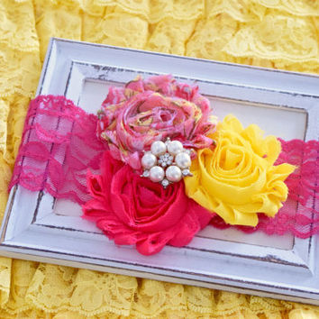 Baby Headband, Infant Headband, Girls Headbands, Shabby Chic Headband, Headband, Newborn Headband, Hot Pink Yellow Headband, Head Bands Baby