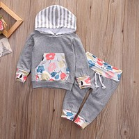 Toddler Infant Kids Baby Girls Outfits Clothes T-shirt Tops Long Pants 2PCS Sets