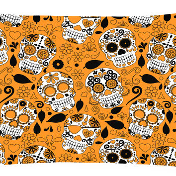 Day of the Dead Orange Canvas Fabric Decorative Pillow BB5118PW1216
