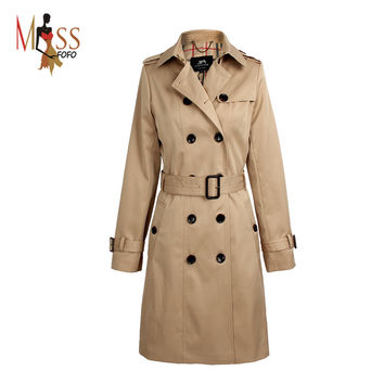 2016 Autumn High Fashion Street Women's Classic Double Breasted Trench Coat Business Waterproof Raincoat Office Lady Outerwear